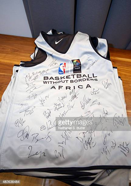 Signed jersey prior to the NBA Africa Game 2015 as part of Basketball Without Borders on August 1, 2015 at the Ellis Park Arena in Johannesburg,...