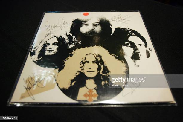 A signed Led Zeppelin album cover is displayed at a press preview for an auction of celebrity memorabilia October 11 2005 in New York City Julien's...