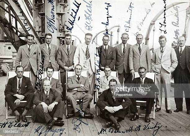 A signed photograph of the MCC England team on board the SS Mooltan whilst docked in Marseille during their voyage to India for the 193334 Tour of...