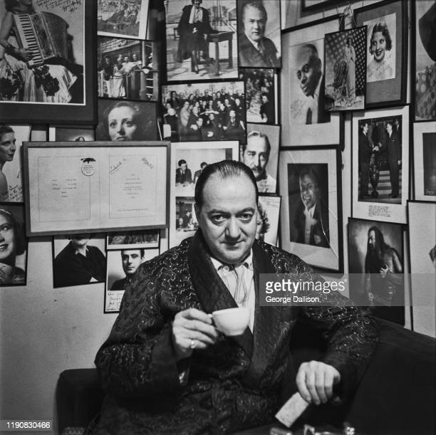 Signed photographs of celebrities on the wall of the Hungaria a Hungarian restaurant on Lower Regent Street in London which also acts as an air raid...