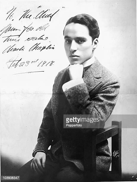 A signed portrait of English comic actor Charlie Chaplin sent to Douglas Fairbanks Sr in February 1918 The inscription reads 'To the 'Chief' yours...