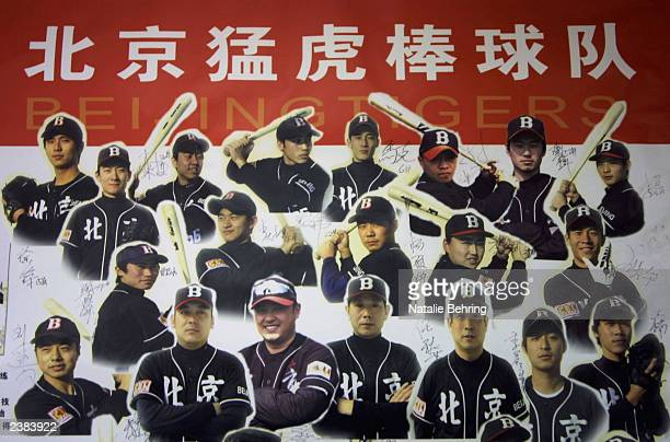 A signed poster depicting China's Beijing Tigers team graces the hallway of their home stadium during a game between the Tianjin Lions on August 9...