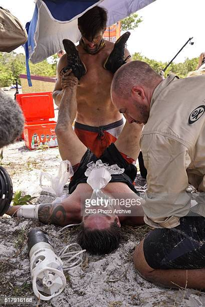 'Signed Sealed and Delivered' Jeff Probst the Medical Team and Nick Maiorano assess the condition of Caleb Reynolds during the fourth episode of...