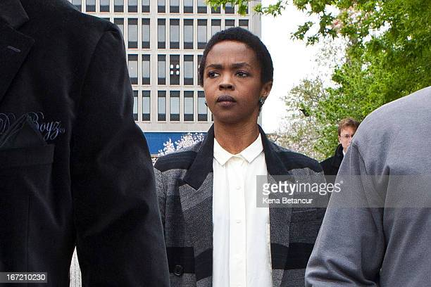 Signer Lauryn Hill is seen leaving court after the judge postpones her sentencing and gave her two weeks to pay back taxes April 22 2013 in Newark...