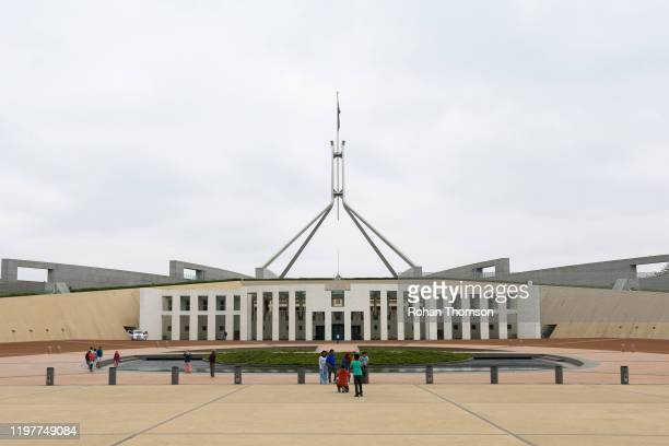Significantly reduced smoke is seen in outside Parliament House on January 06, 2020 in Canberra, Australia. Smoke haze across Sydney city has become...