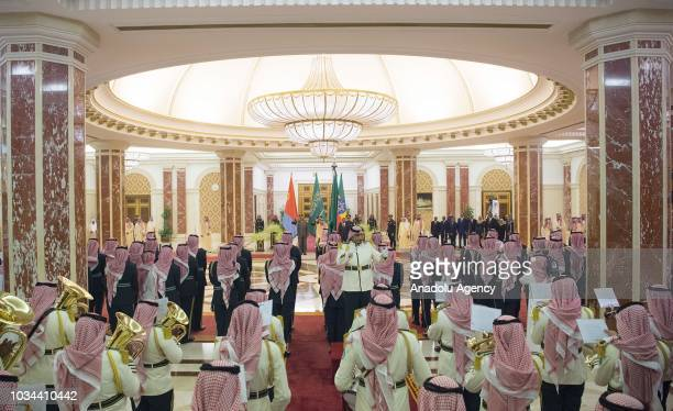 Signing ceremony between Saudi Arabia and African horn countries Ethiopia and Eritrea held at AlSalam Royal Palace in Jeddah Saudi Arabia on...