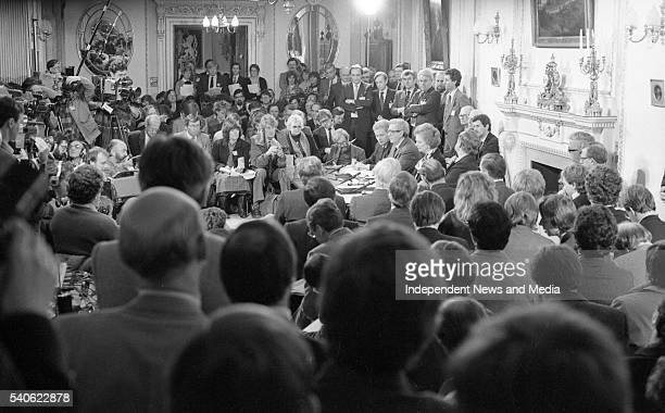Signing of the AngloIrish Agreement at Hillsborough Castle 15th November 1985 View of the politicians involved in the signing including British Prime...