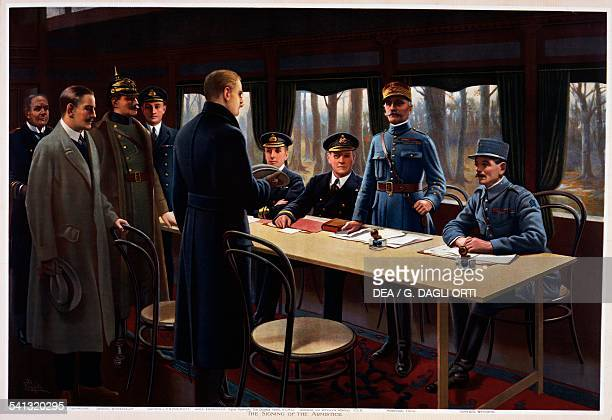 Signing of the armistice in the railway carriage at Compiegne, November 11 the German Secretary of State Matthias Erzberger and the French general...