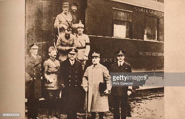 Signing of the Armistice to end the First World War 11 November 1918 French Military and British Naval representatives outside the railway carriage...