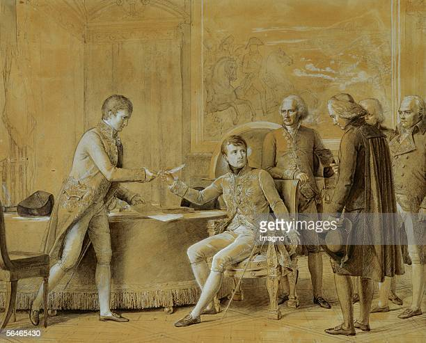 Signing of the treaty between France and the Holy See July 15 1801 Drawingpenpencil and wash by Francois Gerard Musee National du Chateau Versailles...