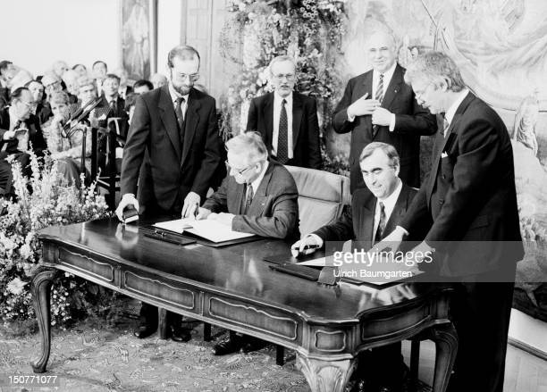 GERMANY BONN signing of the treaty of an economic monetary and social union between the Federal Republic of Germany and the German Democratic...