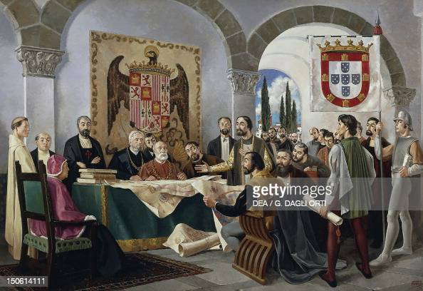 signing of the treaty of tordesillas between spain and