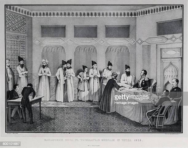 Signing of the Treaty of Turkmenchay 1828 Found in the collection of State Hermitage St Petersburg Artist Beggrov Karl Petrovich