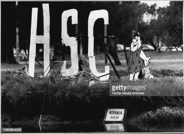 Signing OffA sign put on an Island in the cooks river by HSC studentsA statue of Fred Flintstone in the middle of the Cooks River a march of pupils...