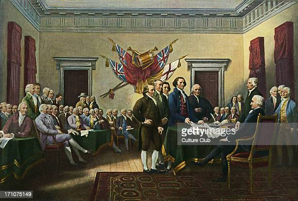 'Signing the Declaration of Independence 28th June 1776' painting by John Trumbull commissioned 1817 Oil on canvas 12 inches x 18 inches Thomas...