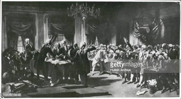 Signing the Declaration of Independence at the Pennsylvania State House USA 2nd August 1776 A painting by ArmandDumaresq