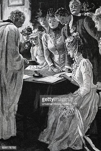 Signing the marriage register London 1891