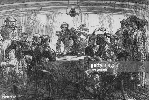 Signing the Treaty of Nankin', circa 1880. Episode of the First Anglo-Afghan War . From British Battles on Land and Sea, Vol. III, by James Grant....