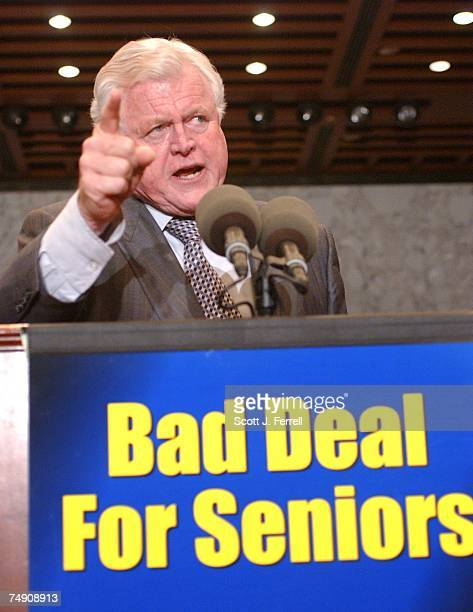 SIGNINGSen Edward M Kennedy DMass during a rally of Democrats and the Alliance for Retired Americans opposing the signing by President George W Bush...