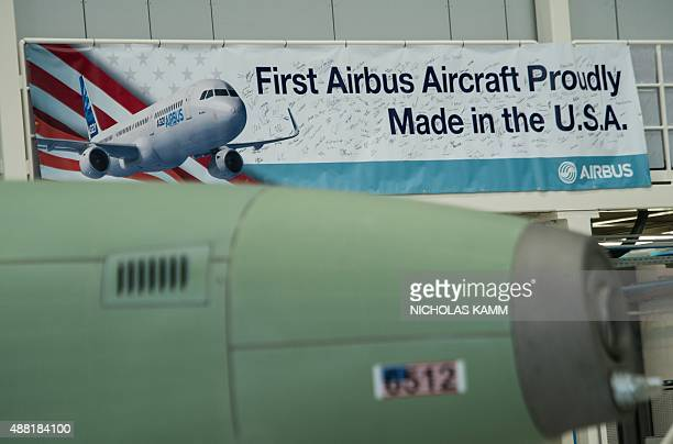 A signis seen during the inauguration of Airbus' first US manufacturing facility in Mobile Alabama on September 14 2015 European jetmaker Airbus...