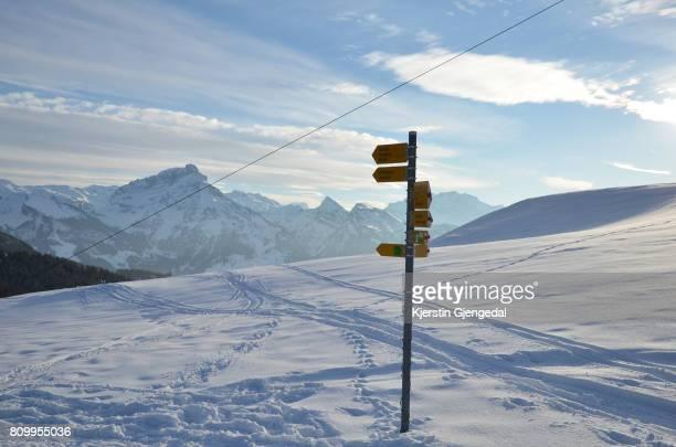 Signpost for hikers in Amden, Switzerland