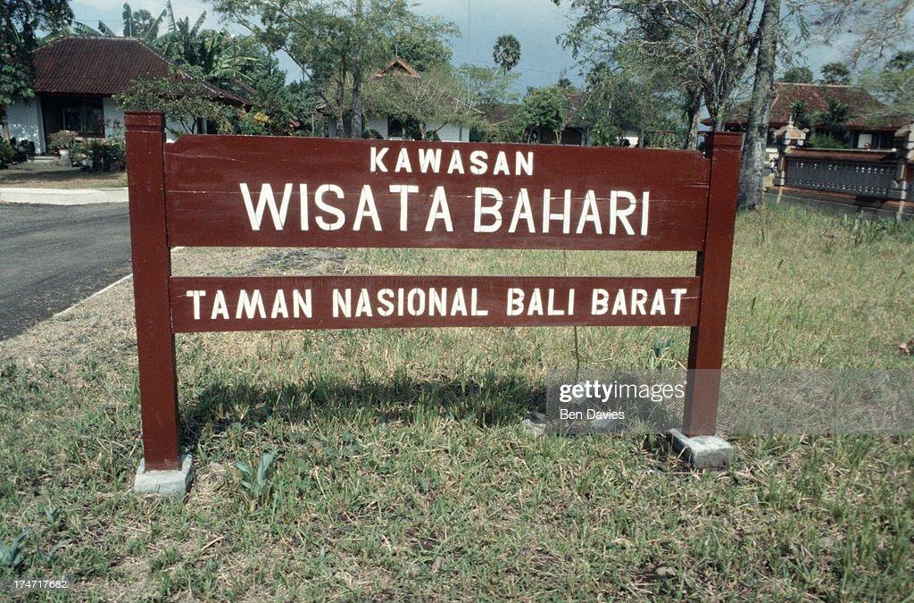 A Signpost For Taman Nasional Bali Barat A National Park To