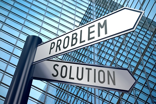 Signpost illustration, two arrows - problem and solution 898719444
