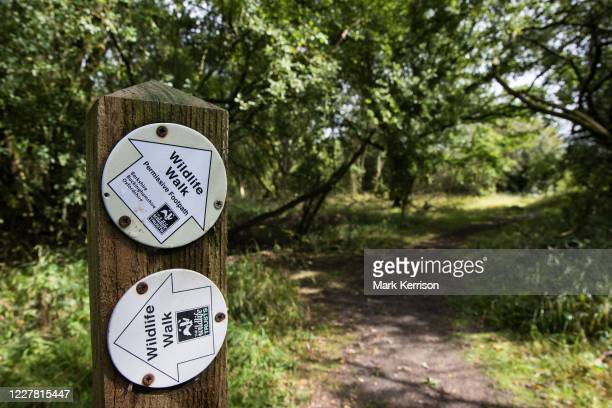 Signpost indicates two wildlife walks at Calvert Jubilee Nature Reserve on 27 July 2020 in Calvert, United Kingdom. On 22nd July, the Berks, Bucks...
