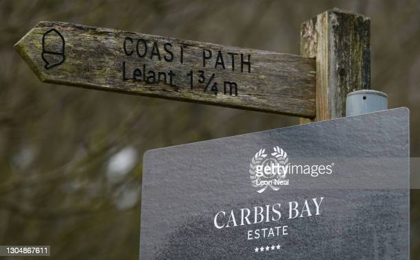 Signpost is seen at the Carbis Bay Estate hotel and beach, set to be the main venue for the upcoming G7 summit, on March 02, 2021 in Carbis Bay,...