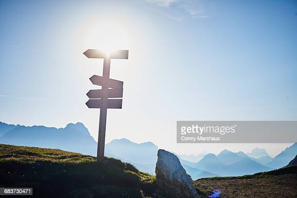 Signpost on mountain in sunlight, Austria