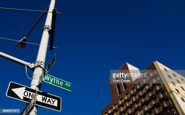 A signpost on Wythe Avenue in the Williamsburg area of New York