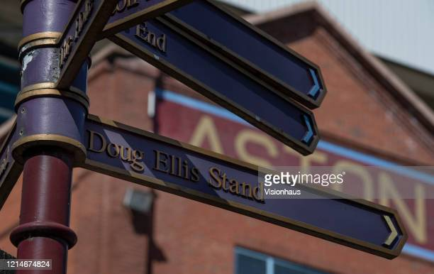 Signpost pointing the way to the Doug Ellis Stand outside Villa Park home of Aston Villa FC on March 23 2020 in Birmingham United Kingdom