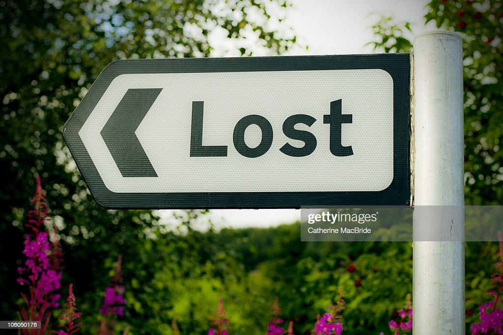 Signpost to Lost : Stock Photo