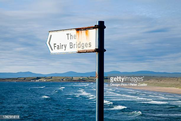 signpost to 'the fairy bridges' - county donegal stock photos and pictures