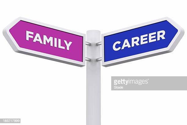 Signpost with a clipping path that says family and career