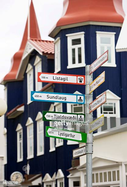 Signpost with directions to towns, Akureyri, Iceland