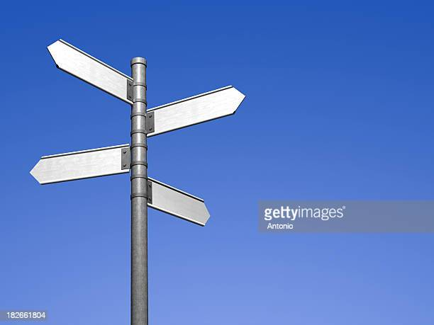 Signpost with four blank street signs