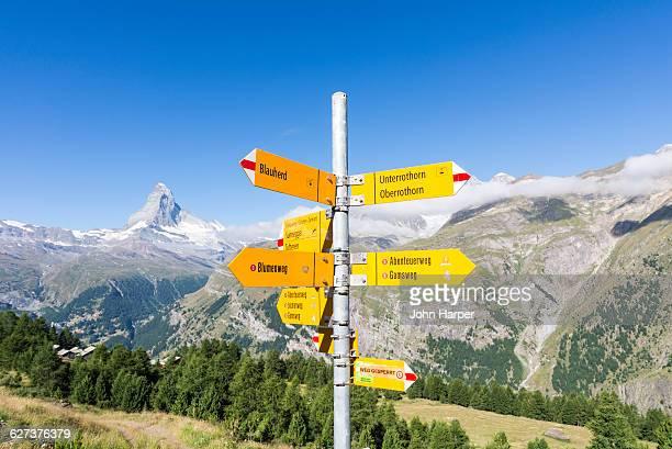 Signposts near Matterhorn, Vallais, Switzerland