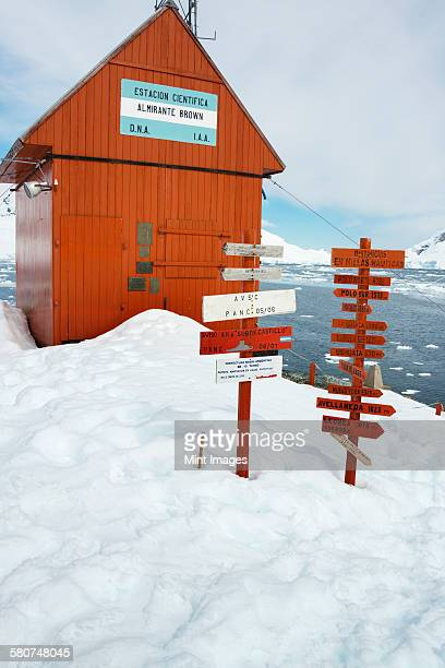Signposts outside Brown Station along Paradise Harbor in the Antarctic.