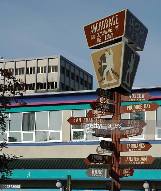Signpostwith distances et les itinéraires à Anchorage, Alaska