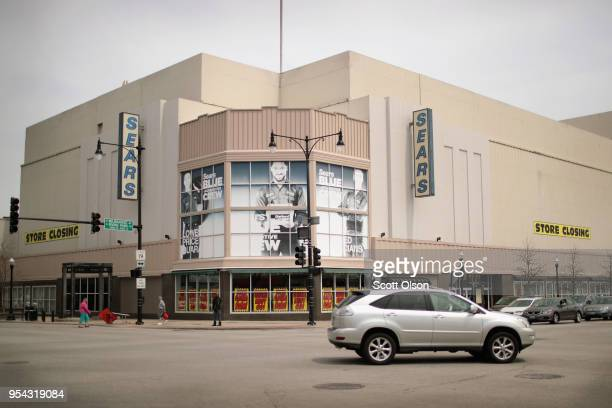 Signs advertise the closing of a Sears store on May 3 2018 in Chicago Illinois The store which opened in 1938 is the city's last remaining Sears...