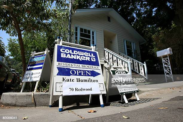 Signs advertising open homes are displayed on a street corner July 24, 2008 in Fairfax, California. According to a report by The National Association...