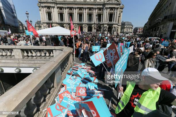 Signs against the French President Emmanuel Macron during a protest dubbed a quotParty for Macronquot against the policies of the French President on...
