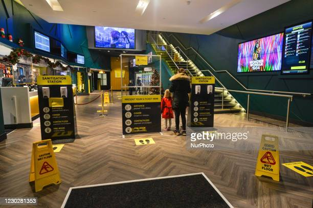 SIgns and messages in relation to coronavirus rules and restriction seen at the entrance to Omniplex Cinema in Rathmines, Dublin. On Monday, November...