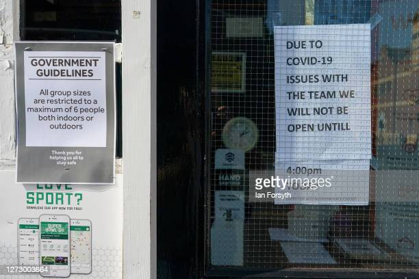 Signs are displayed in the entrance to a pub on September 17 2020 in Newcastle upon Tyne England Almost two million people in northeast England will...