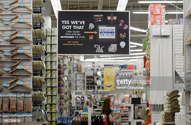 Signs are posted inside a Bed Bath & Beyond store on April 10, 2013 in Los Angeles, California. The home goods retailer is expected to release...