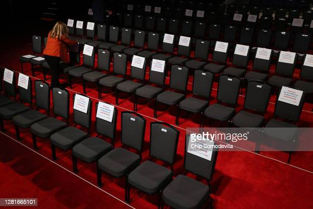Signs are posted on chairs to keep audience members socially distanced to reduce the risk of the coronavirus ahead of the second presidential debate...