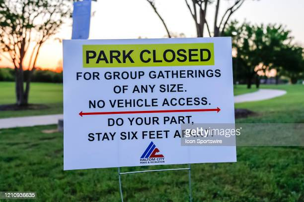 Signs are posted that the park is closed at the Haltom Road Park in Haltom City Texas by the Haltom City Parks Recreation Department during the...