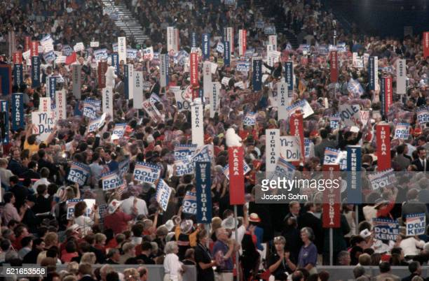 signs at the 1996 republican national convention - republican national convention stock pictures, royalty-free photos & images
