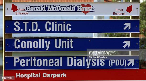 Signs at the Auckland Hospital and Starship Childrens Hospital directing people to the STD clinic and Ronald MacDonald House